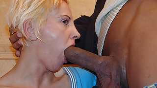 Kinky mature slut licking ass and piss on a toilet