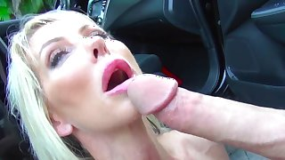 Foot fetish car porn with mind blowing blonde Tylo Duran