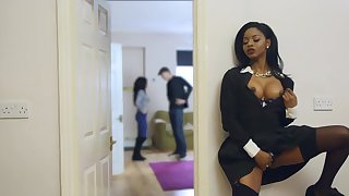 Top ebony mom tries daughter's boyfriend for a few rounds