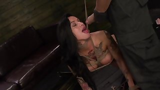 BDSM show with tattooed Alby Rydes