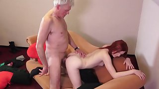 Petite doll tries older dick in crazy couch porn scenes