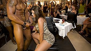 About 70 horny girls packed into the club