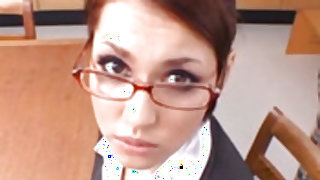 Super sexy office redhead Maria Ozawa giving a great handjob
