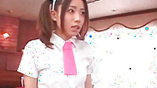 Crazy and sexy japanese maid is swallowing big love stick