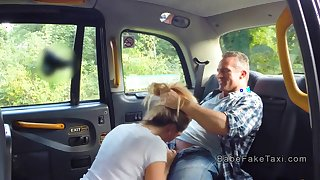 Hot blonde cab driver deep throats
