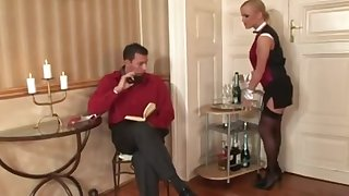 Busty room service maid gets a tip in her ass