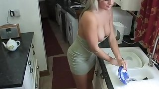 Wife washing dishes boobs out of her dress