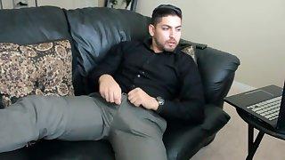 Don Stone In Slacks Shirt Tucked In Stroking His Latino Cock 1