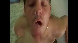 Furry cockwhore gobbles and gags on the ginger root as he takes two loads
