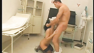 Doctor pulls her hair and fucks her hot cunt doggystyle