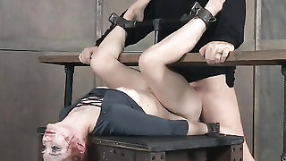 Violet Monroe mouth and pussy fucked in bondage