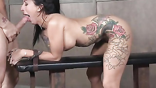 Their tattooed BDSM whore takes cock from both ends