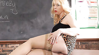 Slutty teacher in leopard print talks dirty to you