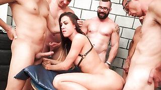 Shemale Gabi Group Gangbang Orgy
