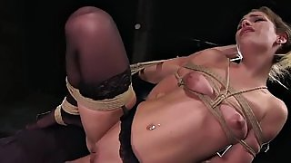 Squating blonde got hard flogged