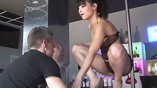 LA COCHONNE - Wild group sex and DP with French babe and three studs