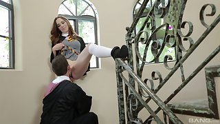 Nasty chick Sammy Grand sucks a dick before being fucked well