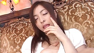 Yukimi Saya enjoys feeling jizz on her face after a steamy blowjob