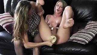Blonde shemale wanks big cock spunks on nylon pantyhose ass