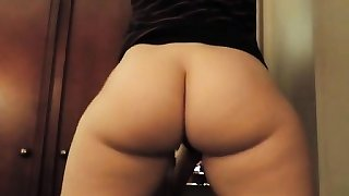 Skinny ass brunette with teacher glasses on webcam