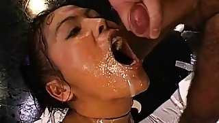 Horny fellows are delighting hottie with loads of pissing
