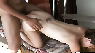 Blonde Melissa and hot blooded guy have oral sex