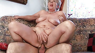 Redhead whore with huge breasts tries her hardest to make