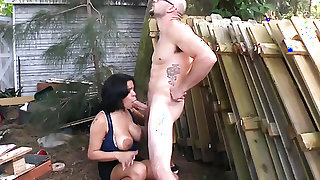 Tattooed Savana Ginger with gigantic breasts and