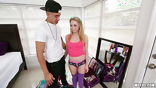 Dick hungry girl Angel Smalls in purple stockings