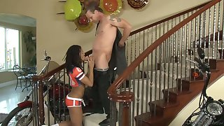 Young black girl Kira Noir fucking with a white dude